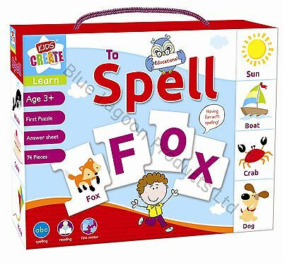 Learn To Spell Childrens Educational Learning Puzzle Jigsaw Mix & Match Game