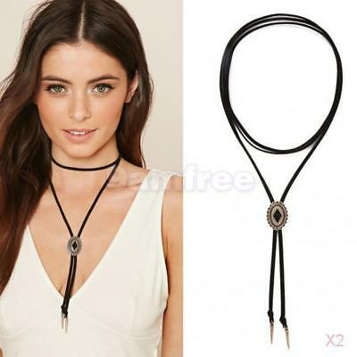 2x Punk Neck Strap Leather Wrap Choker Collar Rope Party Short Women Necklace