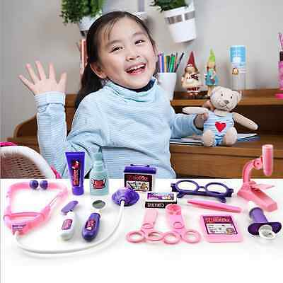 Kids Pretended Doctor's Nurse Medical Play Set Carry Case Kit Roll Play Toy TB