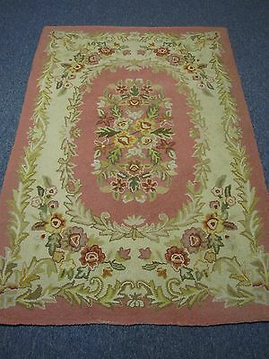 """VINTAGE PINK HAND HOOKED RUG with PRETTY FLOWERS 44"""" X 66"""""""
