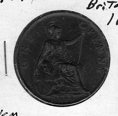 1899 Great Britain 1p. Very nice looking coin. Includes Free shipping in US.