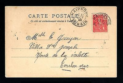 13336-INDOCHINA-OLD POSTCARD HAIPHONG to FRANCE.1903.INDOCHINE.French colonies.