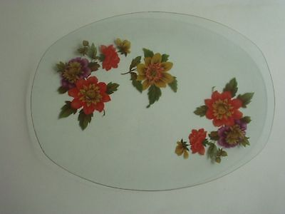 CHANCE GLASS OBLONG SHALLOW DISH/PLATE ~ DAHLIA PATTERN ~ c1973