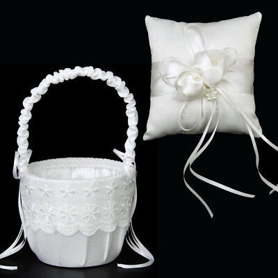 """Wedding Party White Floral Lace Flower Girl Basket & Ivory Ring Bearer Pillow 6"""""""