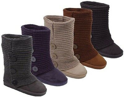 Womens Rib Knit Sweater Crochet Boots 5 Colors Available