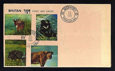 13144-BHUTAN-RARE!!! FIRST DAY COVER PHUNTSHOLING.1970.Animals.Brief.1º jour.