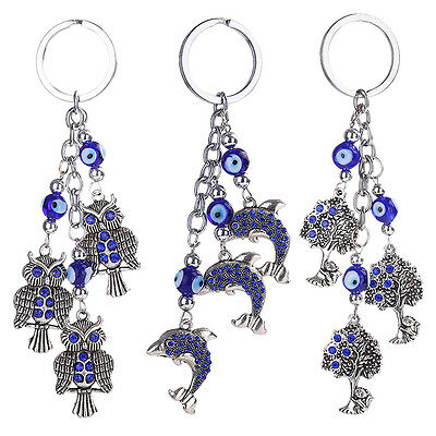 Crystal Rhinestone Evil Eye Keychain Keyring Key Ring Chain Bag Charm Pendant