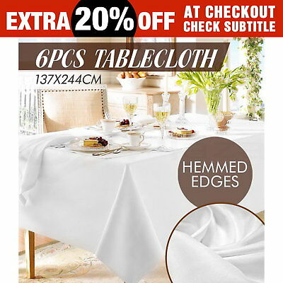 6X Tablecloth Wedding Table Cloth Rectangle Party Banquet White 259X152CM