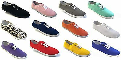 Wholesale Lot Womens Girls Canvas Plimsoll Shoes Sneakers lace Up