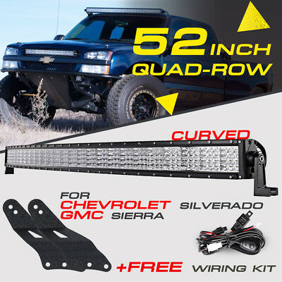 7D+ 52Inch 783W Curved Led Light Bar & Mount Bracket Fit For Gmc Silverado Chevy