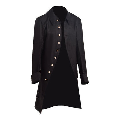 Military Victorian Trench Vintage Coat Mens Gothic Steampunk Outwear Carnival