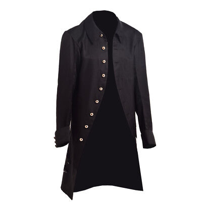 Victorian Mens Military Trench Vintage Coat Gothic Steampunk Outwear Carnival