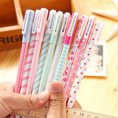 10pcs/lot Office School Accessories 0.38mm Pen Nice Gel Pens Colorful Cute