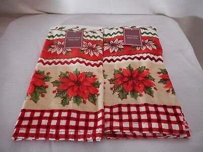 """New St. Nicholas Square Pair Of Red Beautiful Poinsettia Flower Towels 24"""""""