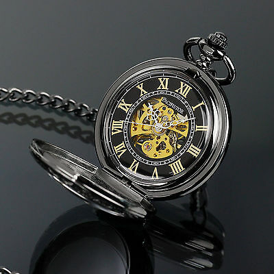 PACIFISTOR Skeleton Mechanical Pocket Watch Transparent Steampunk Antique Style