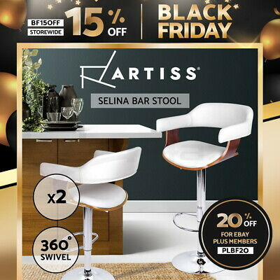 2x Wooden Bar Stool Kitchen Barstool Cafe Dining Chair PU Leather White 8006