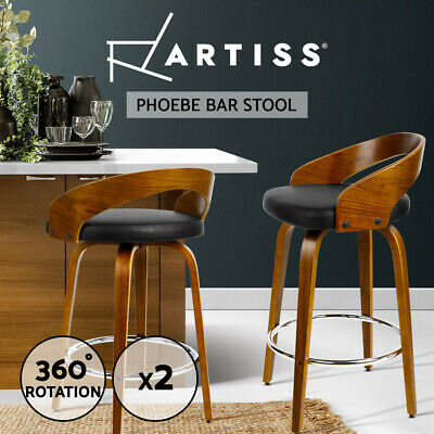 2x Wooden Bar Stools Swivel Barstool Kitchen Dining Chair Wood Black 8565