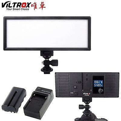 Viltrox 132B slim Camera LED video Light Dimmable LCD Lamp + battery + charger