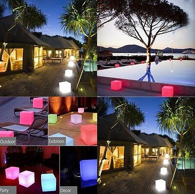20cm 16 Colors 4 modes Led Cube Light Stool Chair Seat Home Garden Decoration