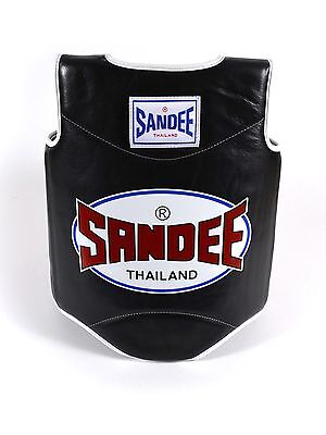 Sandee Black & White Synthetic Leather Authentic Body Shield Muay Thai