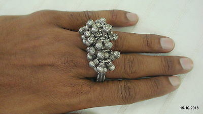 vintage antique tribal old silver double ring traditional gypsy jewelry