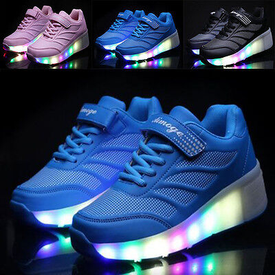 Kids Girls Boys LED Light Up Roller Skate Casual Square Dance Trainers Shoes UK