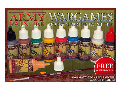 The Army Painter Warpaints Wargames Hobby Starter Paint Set &Free Quickshade Ink