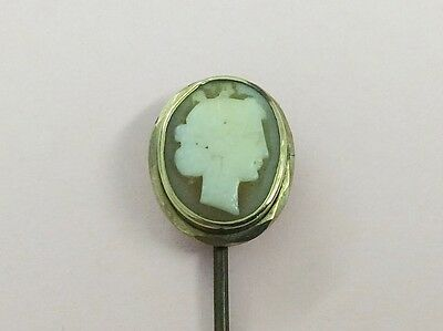 Antique Rolled Gold Hand Carved Cameo Stick Pin 1890