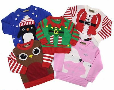 Baby Toddler Christmas Knitted Jumper 7 Styles Elf Santa Pudding or Reindeer