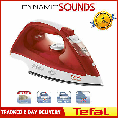 Tefal Access FV1533 2100W Anti-Scale Ceramic Soleplate Steam Iron In Red/White