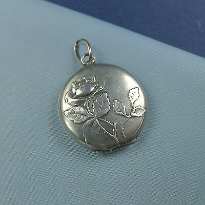Fine Sterling Silver Rose Locket Pendant / Picture Photo