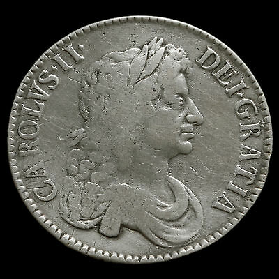 1671 Charles II Early Milled Silver Vicesimo Tertio Crown – AF / Fine