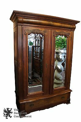 Antique 19th Century Walnut Burlwood Knockdown Armoire Mirrored Wardrobe Bevel