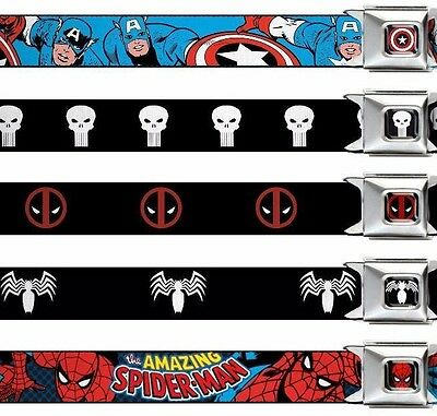 "Seat Belt Buckle Kids 1.0"" x 20-36"" Marvel Comics Punisher Deadpool Hulk Venom"