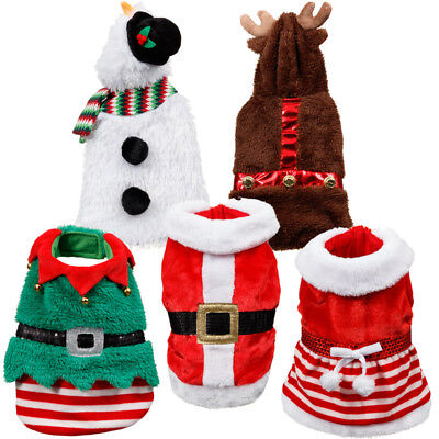 Christmas Dog Costume Santa Elf Snowman Reindeer Xmas Festive Pet Dress Up Coats