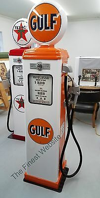 New Gulf Reproduction Gas Pump - Antique Oil Replica (White & Orange) Free Ship*