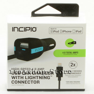 Incipio High Speed 4.8 AMP Car Charger With Lightning Cable 2 Devices Black