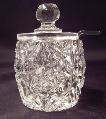 American Brilliant cut glass mustard jar with lid and spoon