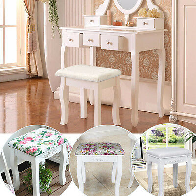 Vintage Stool Padded Chair for Dressing Make up Table Piano White / Floral RDS