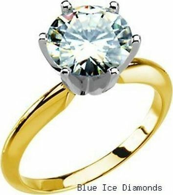 2 Ct Forever Classic Moissanite Round Solitaire Engagement Ring 14k Yellow Gold
