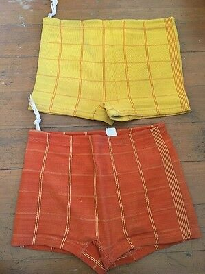 "2 - VTG Boys  Swim Trunks Nylon Knit 22"" waist 1960s"