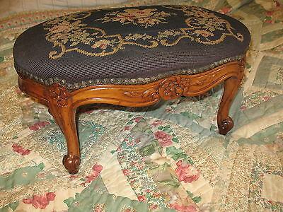 Antique French Style Oval Needle Point Wood Stool Original Carved Skirt & Legs
