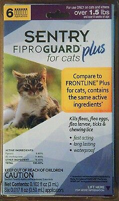 Sentry Fiproguard Plus Flea & Tick Treatment For Cats Over 1.5 Lbs 6 Pack