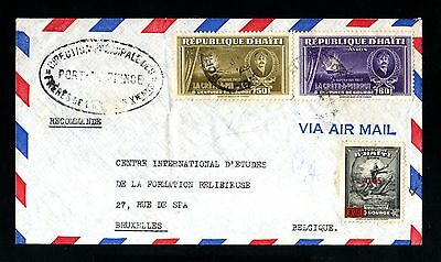 13541-HAITI-AIRMAIL COVER PORT au PRINCE to BRUSSELS (belgium).1949.WWII.Aereo.