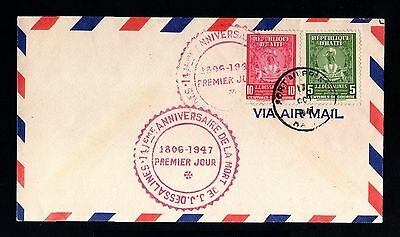 13373-HAITI-AIRMAIL FIRST DAY COVER PORT au PRINCE.1947.WWII.Aereo