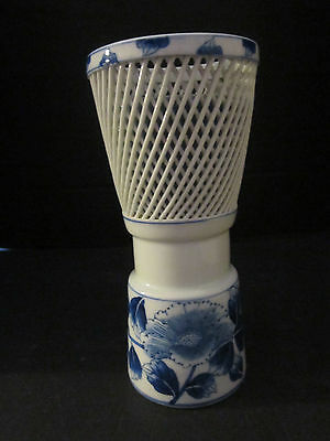 "Vintage Japanese Reticulated Porcelain Blue Floral Flowers Arita Japan 9"" tall"