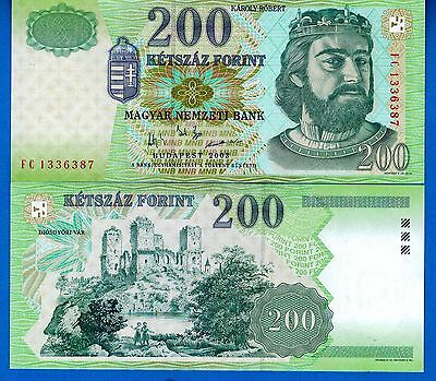 Hungary P-187c 200 Forint Year 2003 Uncirculated Banknote