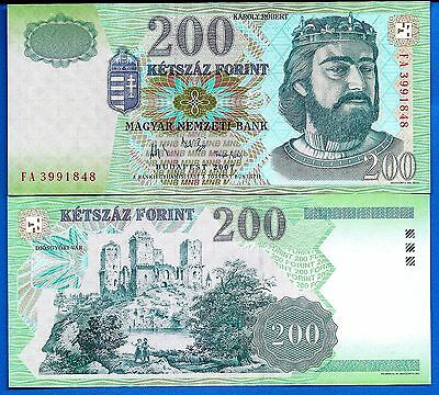 Hungary P-187g 200 Forint Year 2007 Uncirculated Banknote FREE SHIPPING