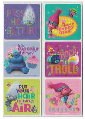 """30 Trolls Movie Glitter Stickers, Assorted 2.5""""x2.5"""" each, Party Favors"""