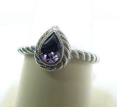Judith Ripka Signed Sterling Silver Ring Amethyst & Diamonique Size 11